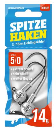 Lieblingsköder Spitze Haken 5//0 NEO Jigkopf Jighaken Rundkopf Bleikopf