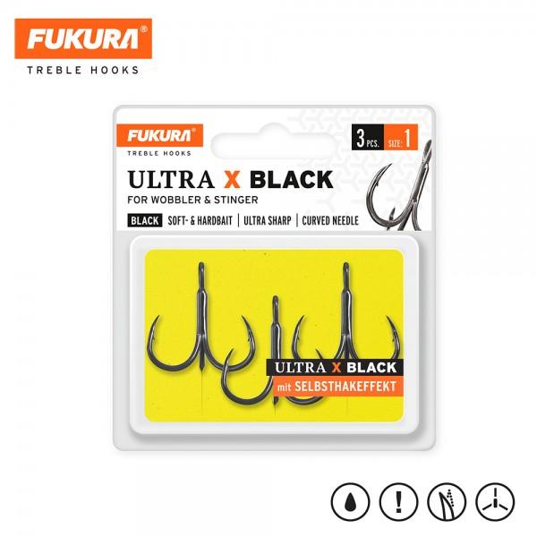Lieblingsköder Fukura Drillinge Ultra X Black (Treble Hooks)