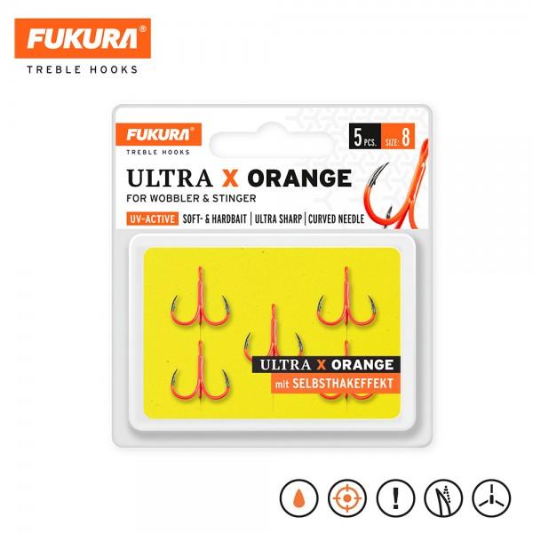 Lieblingsköder Fukura Drillinge Ultra X Orange (Treble Hooks)