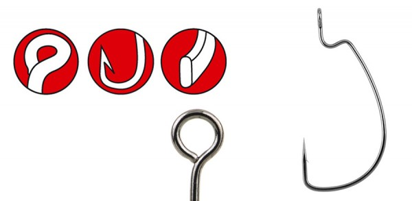 Spro Gamakatsu Haken Offset Worm 330 Bottom Jigging flexibel Jighaken ultra scharf sharp