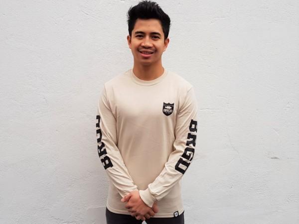 """Bass Brigade Shirt """"BRGD"""" Shield Logo schwarz/beige (Longsleeve)"""