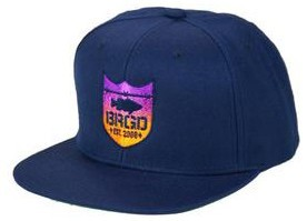 Bass Brigade Shield Logo Gradient Snapback Cap Navy / Sunset