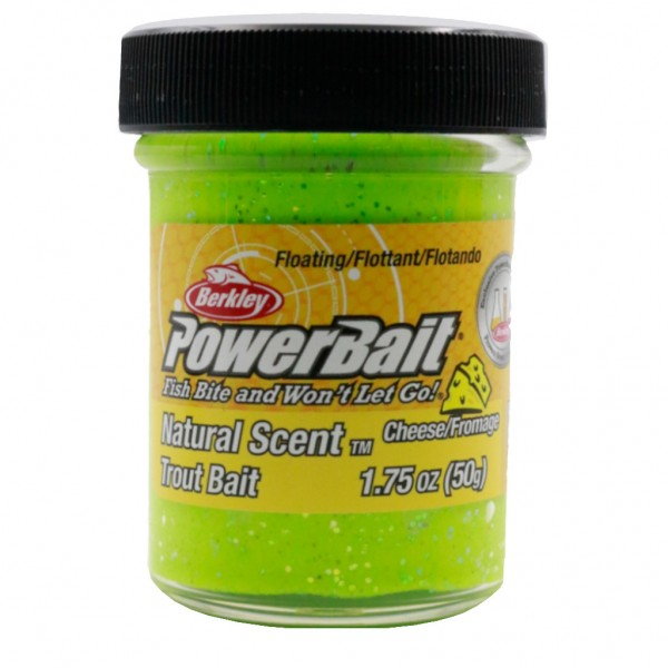 Berkley PowerBait Natural Scent Trout Bait Cheese Chartreuse Glitter
