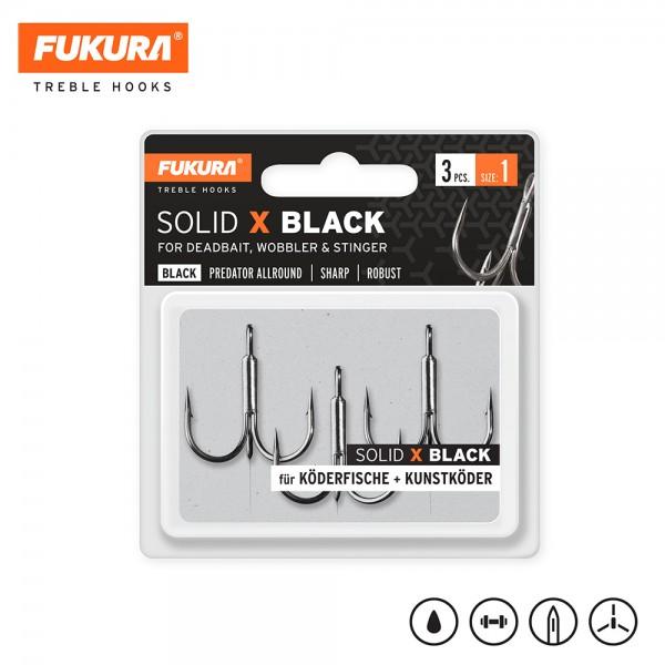 Lieblingsköder Fukura Drillinge Solid X Black (Treble Hooks) Size 1