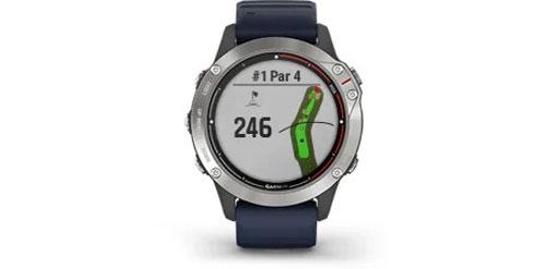 Garmin-Quatix-6-Grau-mit-mittelblauen-Armband-Bild2