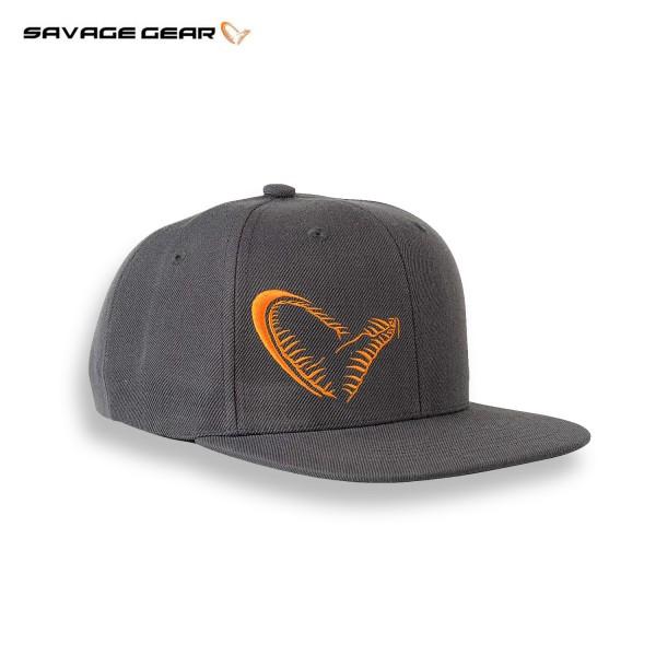 Savage Gear Flat Bill Snap Back Cap Grau Logo