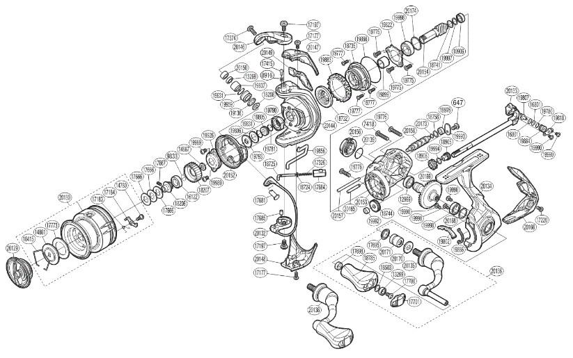 Shimano-Stradic-Explosionszeichnung