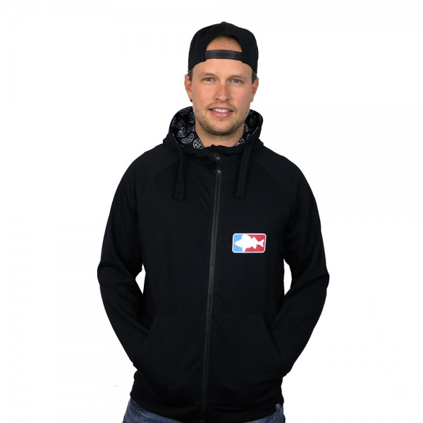 "#LMAB Zipped Stoffjacke ""National Fishing League"" schwarz"