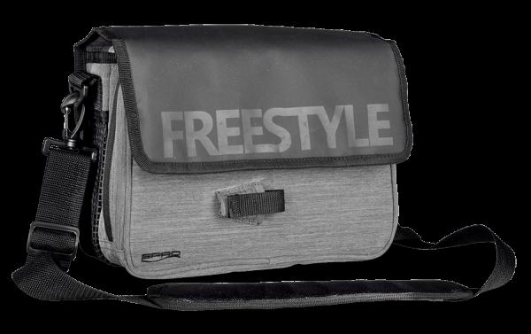 Spro FreeStyle Jigging Bag grau schwarz UL angeln Ultra Light urban fishing inkl Boxen Tackle Box Tacklebox Umhängetasche Softbait Bag EVA Schuam 2 Fächer