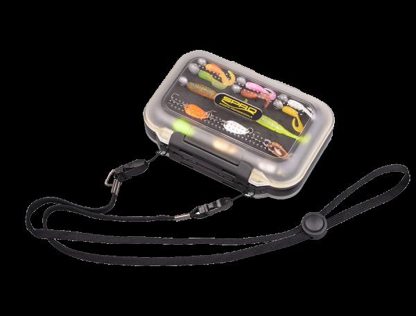 Spro Mobile Stocker M Box Micro Köder Jigs flexibel Transportbox beidseitig 2-seitig Sichtfenster Nackenband