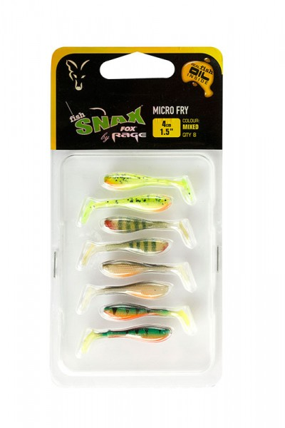 Fox Rage Fish Snax Micro Fry 4cm Finesse Angeln Finesseangeln ultra light Gummifisch Gummiköder Soft Bait Softbait mixed box verschiedene Dekore