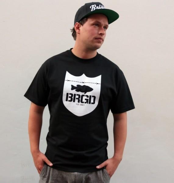 """Bass Brigade T-Shirt """"BRGD"""" Shield Logo schwarz/weiß"""