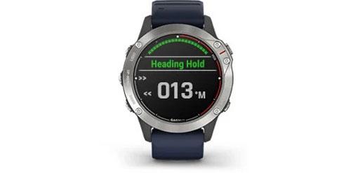 Garmin-Quatix-6-Grau-mit-mittelblauen-Armband-Bild3