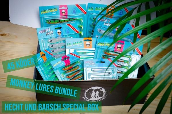 Monkey Lures King Lui Hecht und Barsch Special Box Bundle 45 Köder 7,5cm 10cm 14cm Lil Mahi Pablo's Snow Firetiger Hecht Barsch Zander