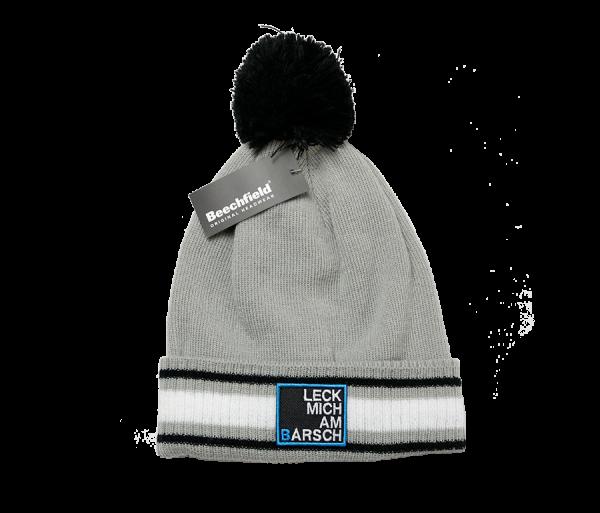 #LMAB Angelmütze Leck mich am Barsch Pudelmütze Bommelmütze Wollmütze Wintermütze grau schwarz weiß