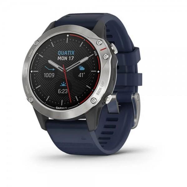 Garmin Quatix 6 Grau mit mittelblauen Armband