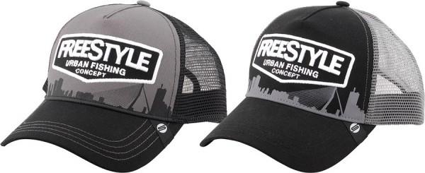 Spro FreeStyle Trucker Cap grau schwarz black grey netz mesh gebogen unisex one size fits all einheitsgröße