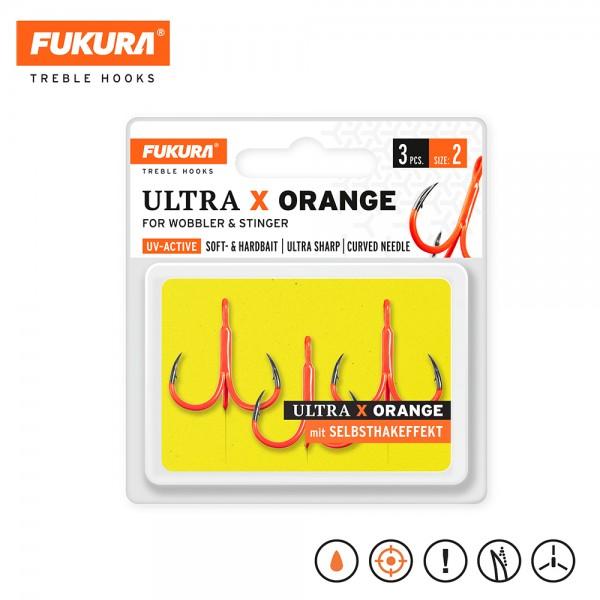 Lieblingsköder Fukura Drillinge Ultra X Orange (Treble Hooks) Size 2