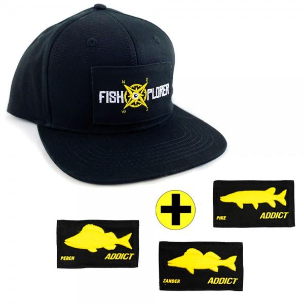 FishXplorer 4 in 1 Scratch Snapback Cap Schwarz