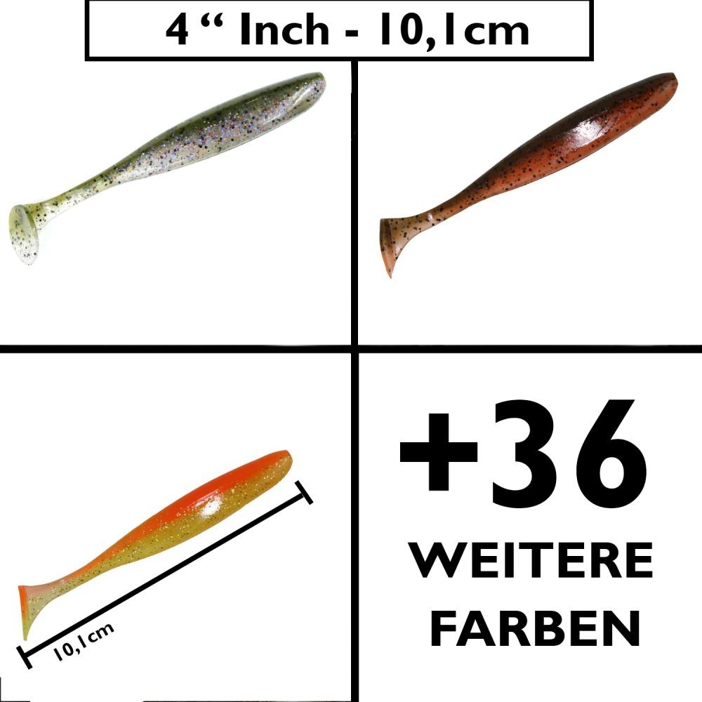 """KEITECH 4/"""" Easy Shiner Stint Gummifisch Kunstköder Hecht Zander Barsch"""