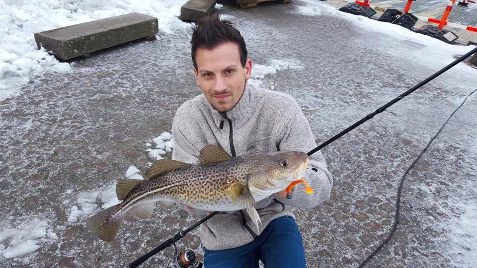Flo vom HD-Fishing Team mit einem schönen Dorsch im Hafen Sonderburg
