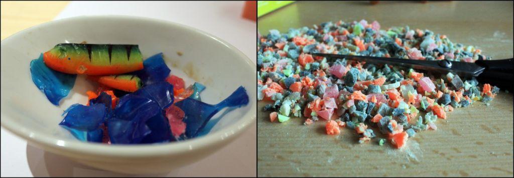 Alte Gummiköder und Gummireste können kleingeschnitten jederzeit wieder eingeschmolzen werden