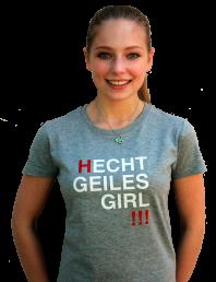 """T-Shirt """"Hecht geiles girl"""" grau-rot-weiß"""