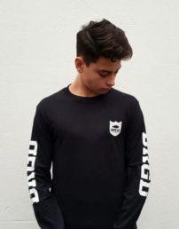 """Bass Brigade Shirt """"BRGD"""" Shield Logo schwarz/weiß (Longsleeve)"""