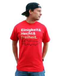"""T-Shirt """"Einigkeit & Hecht & Freiheit"""" (Schwarz / Rot / Gold)"""